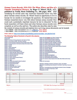 Product Description Flyer: German Census Records 1816-1916