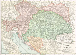 1910 Map of Austria, Hungary, Croatia & Slavonia, Bosnia