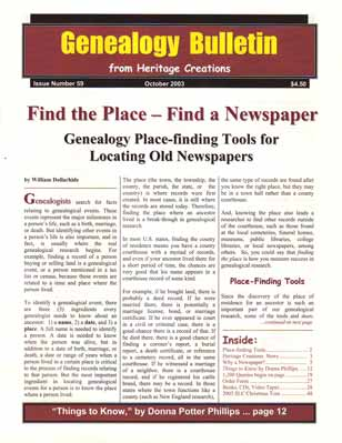 Find the Place - Find a Newspaper - Genealogy Place-finding Tools for Locating Old Newspapers - Genealogy Bulletin 59 - October 2003