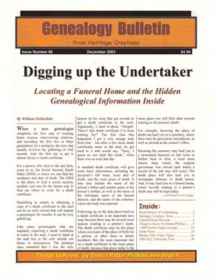 Digging Up the Undertaker - Locating a Funeral Home and the Hidden Genealogical Information Inside - Genealogy Bulletin 60 - December 2003
